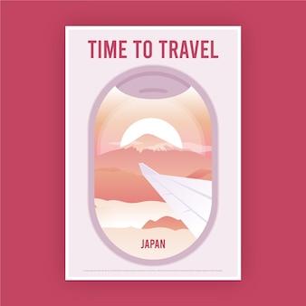 Janela de cartaz de viagem de um avião