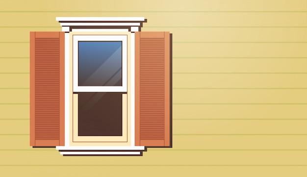 Janela de casa com persianas fachada de edifício vintage