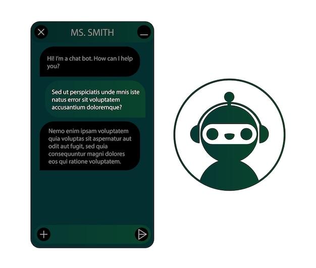 Janela de chatbot com conjunto de ícones de robô. interface do usuário do aplicativo com diálogo online. conversa com um assistente de robô