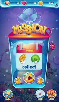 Janela de coleta de missão da interface do usuário móvel sweet world