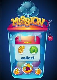 Janela de coleta de missão multicolorida
