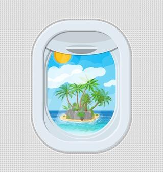 Janela de dentro do avião com ilha
