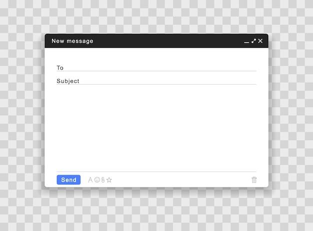 Janela de e-mail em branco. interface da página de correio.