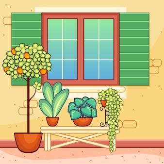 Janela de estilo mediterrânico com plantas