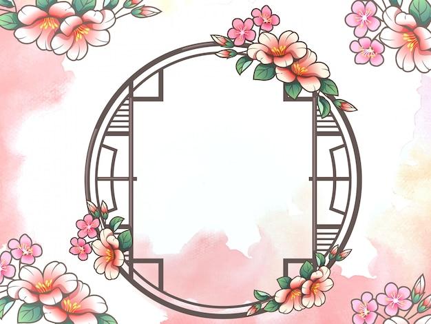 Janela de forma de círculo estilo chinês com fundo de flores