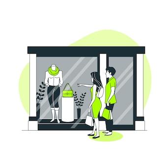 Janela de ilustração do conceito de compras
