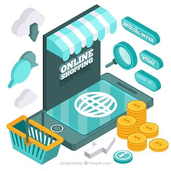 Janela de loja on-line com elementos de comércio eletrônico em estilo isométrico