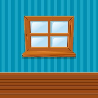 Janela de madeira dos desenhos animados, interior de casa
