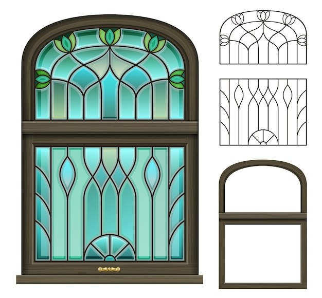Janela de madeira vintage arqueada com vitral
