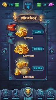 Janela de mercado da gui de batalha de monstros - interface de usuário do jogo de ilustração de desenho animado - fundo horrível de parede de halloween com moedas na bolsa