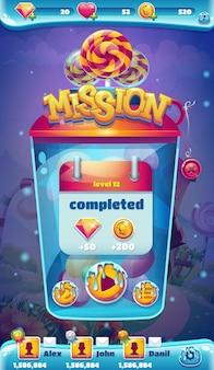 Janela de missão concluída da interface do usuário móvel sweet world