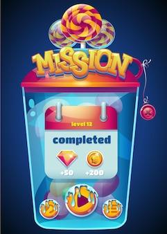 Janela de missão concluída multicolorida