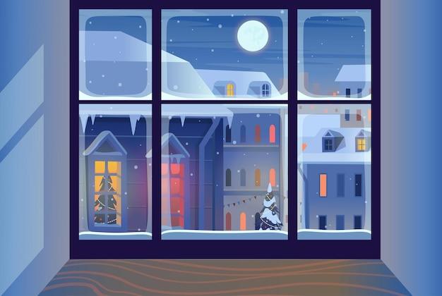 Janela de natal com paisagem de inverno fachadas de casas no inverno à noite feliz natal, saudação.