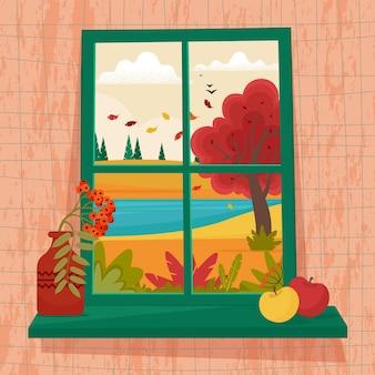 Janela de outono com vista de vaso com galho de rowanberry e maçãs no peitoril ilustração vetorial