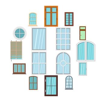 Janela de plástico formulários ícones definidos em estilo simples