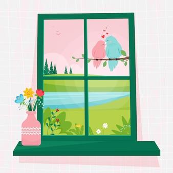 Janela de primavera com vista para pássaros casal em um galho, um vaso de flores no parapeito da janela. ilustração aconchegante fofa em estilo simples