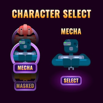 Janela de seleção de personagens de interface do usuário do fantasy game