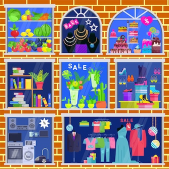 Janela de vetor de vitrine de loja de loja de roupas de loja de livros e joias conjunto de ilustração de janela caso de frutas legumes