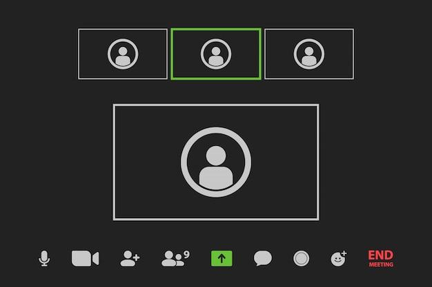 Janela de videoconferência no seu dispositivo Vetor Premium