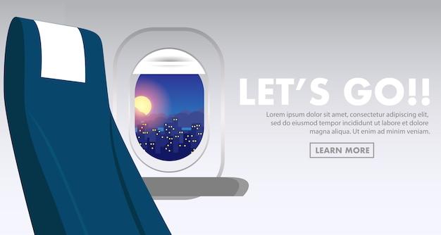 Janela do avião dentro da cabine do avião