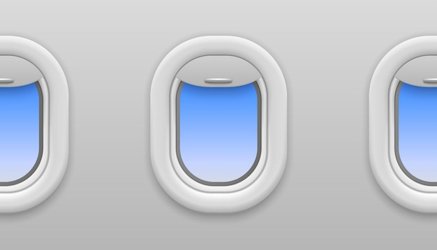 Janela do avião. janelas de avião com vista do céu azul, vigia aberta no vôo de avião, viagens e turismo, textura de vetor interior sem costura