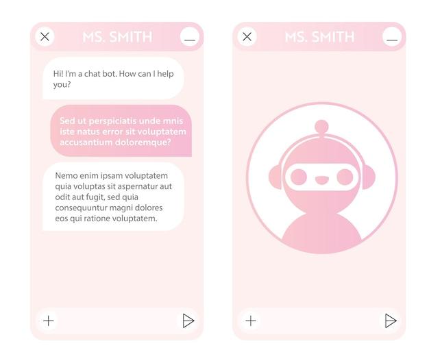 Janela do chatbot com página inicial. interface do usuário do aplicativo com diálogo online. conversa com um assistente de robô