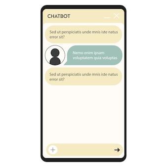 Janela do chatbot. interface do usuário do aplicativo com diálogo online. conversa com um assistente de robô
