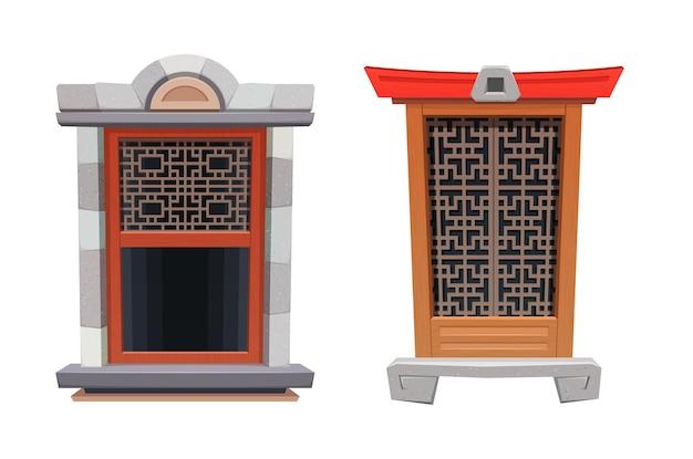 Janela do interior de um templo ou fortaleza chinês