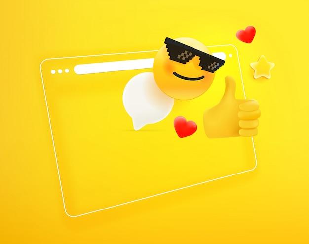 Janela do navegador com diferentes emoji. eu gosto do conceito