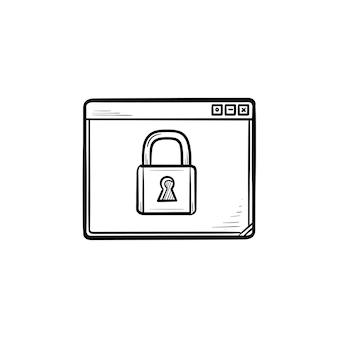 Janela do navegador com ícone de doodle de contorno desenhado de mão cadeado. segurança online, conceito de proteção de dados da web