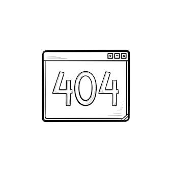 Janela do navegador com ícone de doodle de contorno desenhado de mão de erro 404. site indisponível, conceito de falha