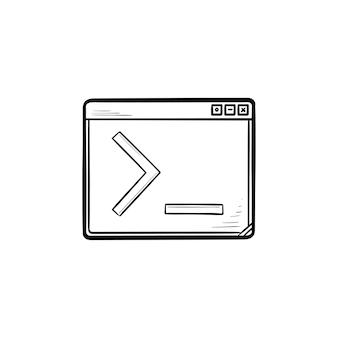 Janela do navegador com ícone de doodle de contorno desenhado de mão de linha de comando. codificação e programação, conceito