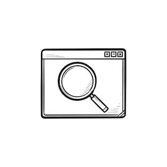 Janela do navegador com ícone de doodle de contorno desenhado de mão de lupa. navegador de pesquisa e conceito de pesquisa