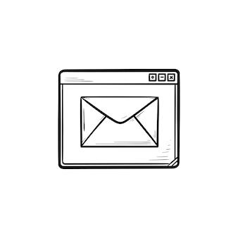 Janela do navegador com ícone de doodle de contorno desenhado de mão de mensagem. serviço de email e página da web, conceito de recebimento de email