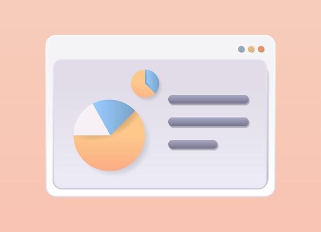 Janela do navegador da web com dados estatísticos, análise financeira, estatísticas, marketing, aplicativo, diagrama, conceito, relatório, horizontal