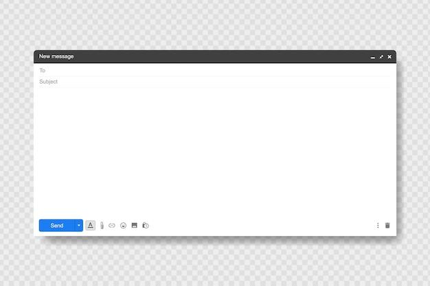 Janela em branco do email, ilustração do modelo. janela de mensagem de email. moderno estilo simples.