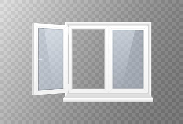 Janela fechada com vidro transparente em uma moldura branca.