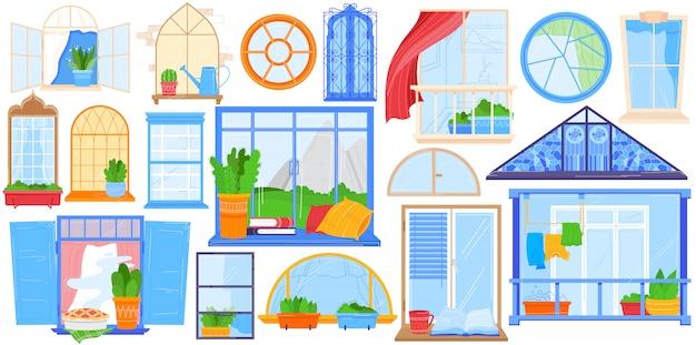 Janela, ilustração de varanda em casa, casa dos desenhos animados com molduras de janela, decoração de cortinas ou vaso de flores, trilhos