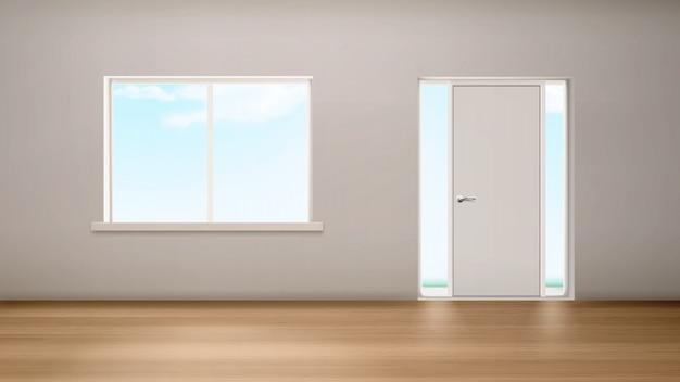 Janela interior do corredor e porta com painéis de vidro