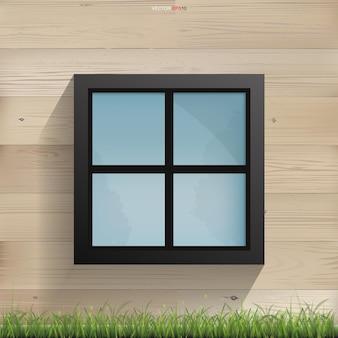 Janela na textura da parede de madeira com a parede de madeira das ripas horizontais da casa. ilustração vetorial.