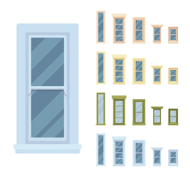Janela para construção com moldura de vidro