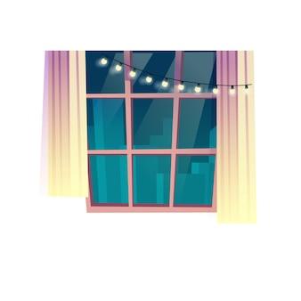 Janela plana dos desenhos animados de vetor com cortinas e luzes de cordas festivas isoladas em elementos interiores de salas de fundo vazias, conceito de vida familiar confortável, design de banner de site da web