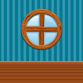 Janela redonda de madeira dos desenhos animados, interior de casa