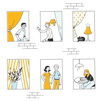 Janelas abertas com pessoas e gatos dentro de apartamentos