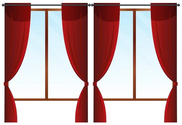 Janelas com cortinas vermelhas