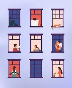 Janelas com vizinhos fazendo tarefas diárias em seus apartamentos - bebendo chá, conversando, regando em um vaso de plantas, abraçando ou acariciando, lendo jornal
