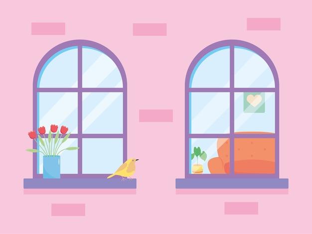 Janelas de casa com plantas e pássaros