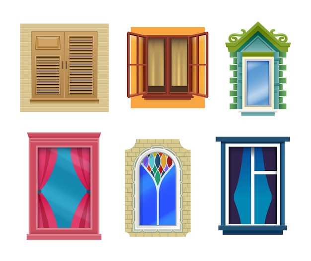 Janelas de casa, desenho plano, design moderno e retro. janelas com caixilhos de vitrais fechados e abertos com cortinas, portadas e peitoris em caixilharia de tijolo e plástico