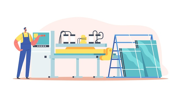 Janelas de plástico, conceito de produção de perfil de pvc. trabalhador masculino personagem em uniforme na fábrica de manufatura produzir óculos. obras de construção, negócios ou indústria. ilustração em vetor desenho animado