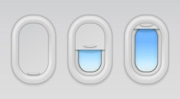 Janelas do avião. vigias de aeronaves com céu azul. tipos de janela plana aberta, fechada e meio fechada